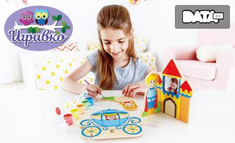 """Дървен арт комплект """"Оцвети и играй"""" на немската фирма Hape"""