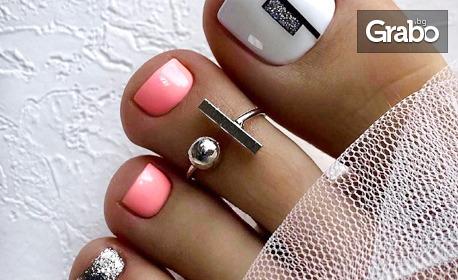 Маникюр, укрепване с база или гел върху естествен нокът, плюс гел лак и декорации, или педикюр