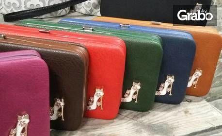 Кожено клъч портмоне в цвят по избор