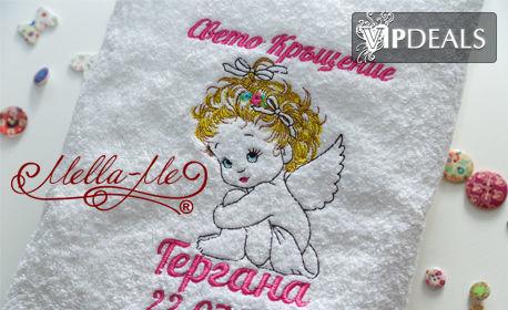 """Бродирана хавлия за кръщене """"Ангелче момиче"""" в бял цвят, плюс безплатна доставка до офис на Speedy"""