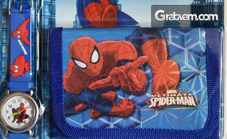 Подаръка за малчо! Детски комплект с ръчен часовник и портмоне с любим герой