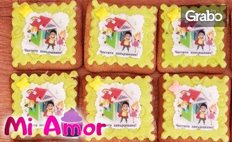 10 броя ръчно направени меденки със снимка на клиента или украса от захарно тесто