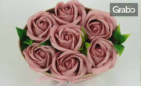 Луксозна кутия със 7, 9 или 11 сапунени рози