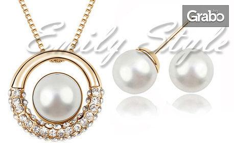 """Колие и обеци """"Перлен кръг"""" с австрийски кристали и 18К златно покритие"""