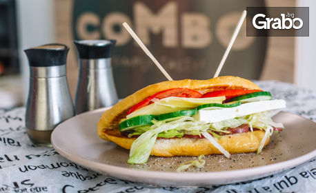 Свеж сандвич с луканка, телешки бургер с пържени картофки и сос, или зеленчукова крем супа и салата по избор
