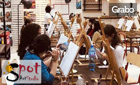 3 часа рисуване с акрилни бои върху платно, с напътствия от художник, плюс чаша вино - на 29 Май