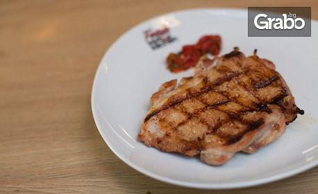 Комбо меню със свинска вратна пържола, пилешка пържола, пуешка пържола или риба тон филе