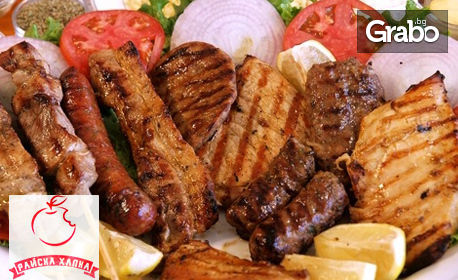 2.6кг плато с вкусно месце на скара, пържени картофки и сосче