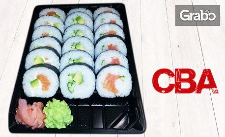 Суши комбо Футомаки, скарида, сьомга и авокадо с 18 хапки