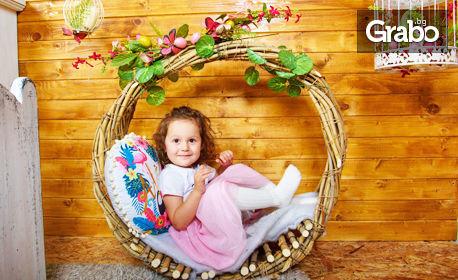 Семейна пролетна фотосесия в студио - с 3 ръчно изработени декора и до 100 обработени...