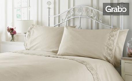 """Спален комплект """"Home"""" от 100% памук в 4 части, с декорация от винтидж дантела и безплатна доставка"""