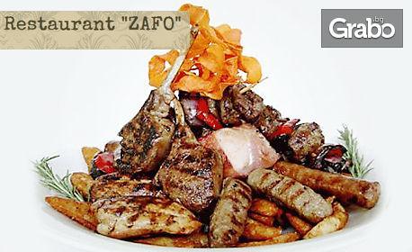1200гр плато! Сръбски кебапчета, ущипци, наденица и домашни пържени картофи