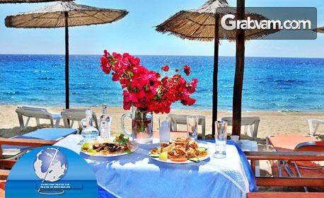 Почивка в Ситония, Халкидики през Септември! 6 нощувки със закуски и вечери в Семеен хотел Angelos Garden Toroni