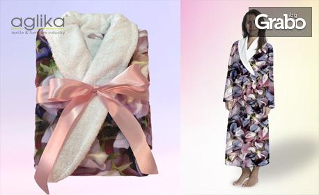 """Дамски халат за баня """"Beauty"""" от висококачествени памук и микрофибър"""