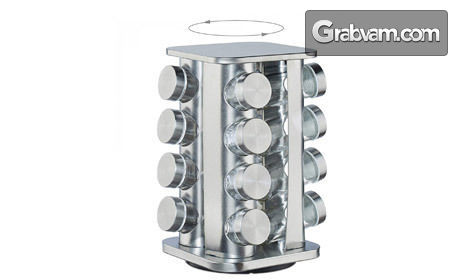 Комплект с 12 или 16 стъклени бурканчета за подправки на въртяща се основа