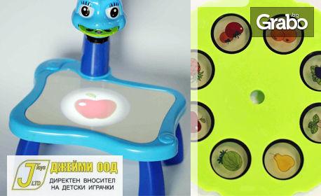 Детска масичка с проектор на картинки, плюс книжка с идеи за рисуване и флумастери
