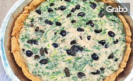 Безглутенов киш със спанак, хумус и маслини