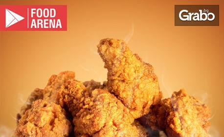 Пържени пилешки хапки и печени пилешки кюфтенца, плюс млечен сос - за вкъщи