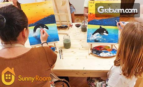 3 или 5 посещения на творческа вечер с рисуване върху платно, плюс чаша вино или бира