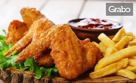 2кг плато с пилешки пържолки и крилца, домашни билкови картофки, пърленка и горчичен сос