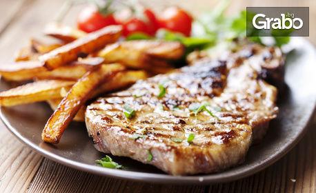 Каракачанска салата, плюс свинска вратна пържола на скара с домашни пържени картофи и лютеница