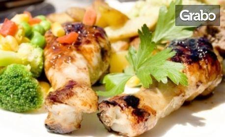 1.6кг плато с пилешки парти бутчета, домашни пържени картофи и 3 вида сос