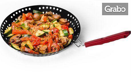 Барбекю тиган за приготвяне на морски дарове, месо и зеленчуци