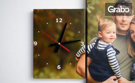 Подарък за Свети Валентин! Канава в 3 части - със стенен часовник и снимка на клиента