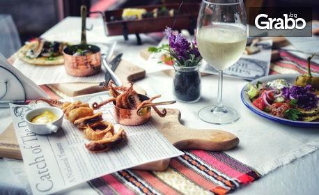 Телешки кюфтета с гарнитура и салата, или пъстърва в керемида със сотирани зеленчуци