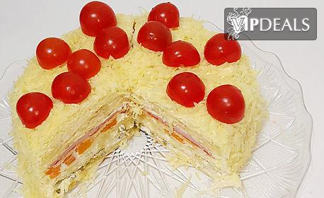 Солена палачинкова торта с 20 парчета