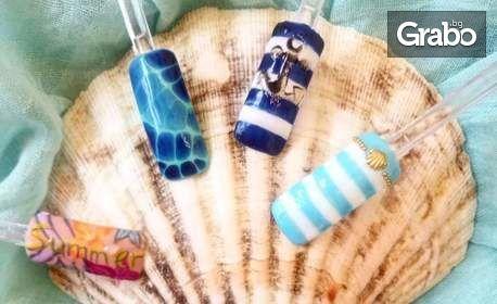 Маникюр с гел лак Bluesky, плюс 2 декорации