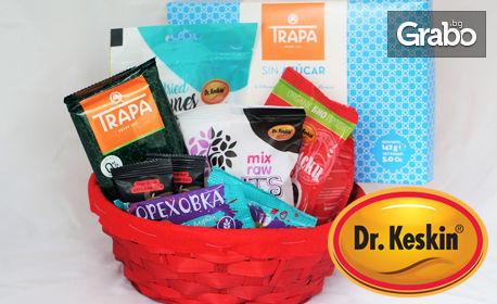 Подаръчна кошница със сладки изкушения без захар или сет от шоколади