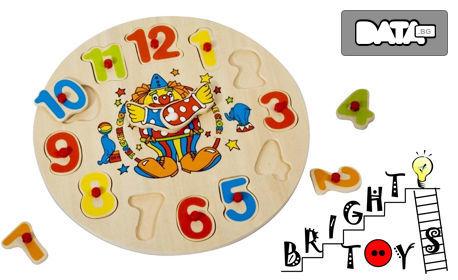 """Детски дървен образователен пъзел с дръжки """"Часовник с клоун"""""""