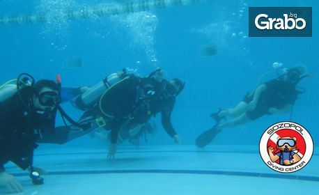 Водолазно гмуркане в басейн с екипировка и PADI инструктор, плюс фото и видеозаснемане