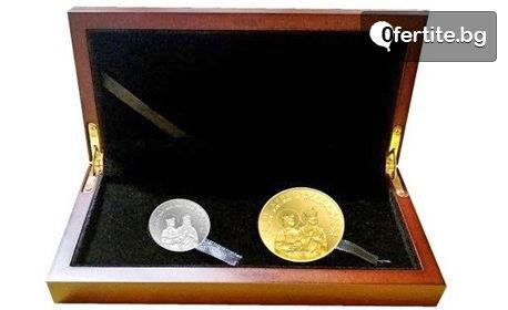 """Сребърен медальон """"Св. св. Константин и Елена"""", позлатен медал или колекция от двете"""