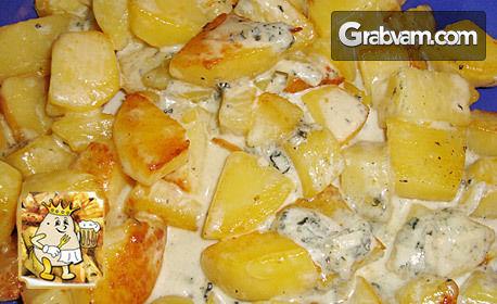Kартофки по касапски с пилешко и свинско филе или с манатарки