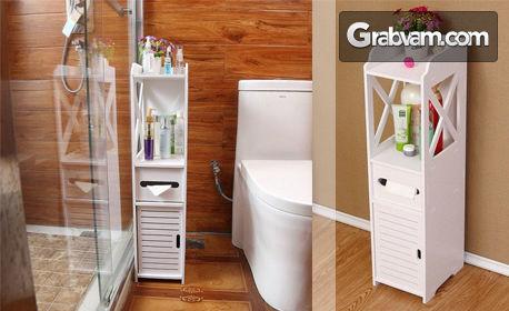 Стилна бяла етажерка за баня от WPC