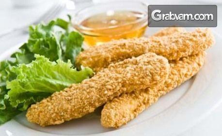 950гр вкусно хапване! Панирани пилешки пръчици, свински карета на жар, телешки кюфтета и доматена апетитка с люто чушле