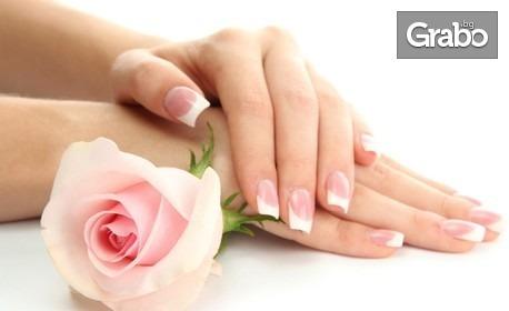 Гел върху естествени нокти или педикюр с гел лак, плюс декорации