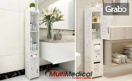 Бяла етажерка за баня от пластмаса композит