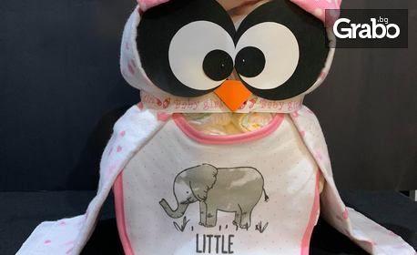 Оригинален подарък за бебе - торта от памперси