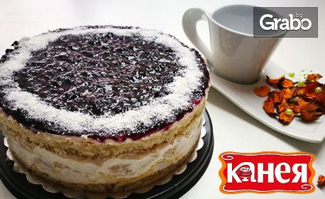 Еклерова торта - с бял шоколад и кокос или с боровинки