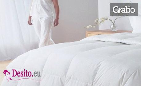 Олекотена завивка от естествен гъши пух в бял или кремав цвят