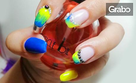 Цветни нокти! Маникюр с гел лак, поставяне на гел върху естествен нокът или педикюр с гел лак
