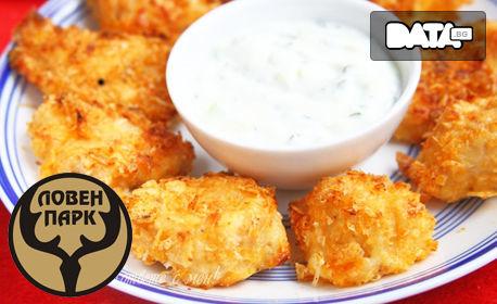 Плато с пилешки хапки и чеснов сос
