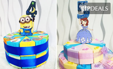 Картонена торта на 2 етажа - с 24 или 32 парчета и декорация по избор
