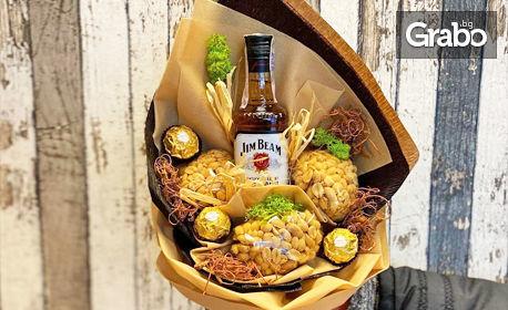 Букет за Нея с бонбони или букет за Него с уиски, бонбони и ядки