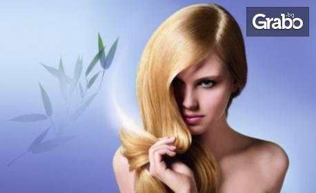 Терапия за изтощена коса, плюс сешоар и бонус - 60% отстъпка за фризьорски услуги за 3 месеца