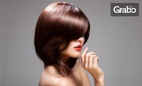 Боядисване на коса тип Омбре или Балеаж, плюс терапия с кератин и оформяне на прическа