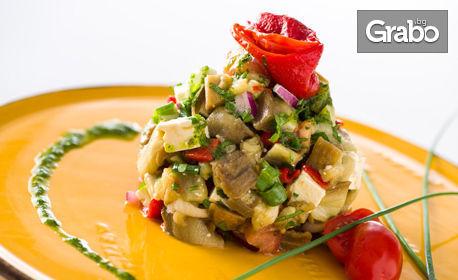 Рибена супа или тарама хайвер с фокача, плюс роле от пъстърва, или салата и свински джолан с картофи